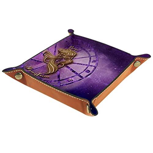 Organizador de cuero de la mesita de noche del signo del zodiaco de la Virgen para los accesorios