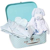 Cesta de ducha para bebé con elementos esenciales para recién nacidos, incluye un edredón, traje de baño, babero de algodón y manoplas