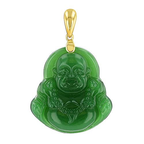 Green Jade Mens Womens Luck Happy Green Jade Buddha Pendant Laughing Buddha Statue Gold Rope Chain Necklace Pendant Certified Grade A Jadeite Jade Hand Crafted, Jade Necklace, Buddha Necklace 18 inches