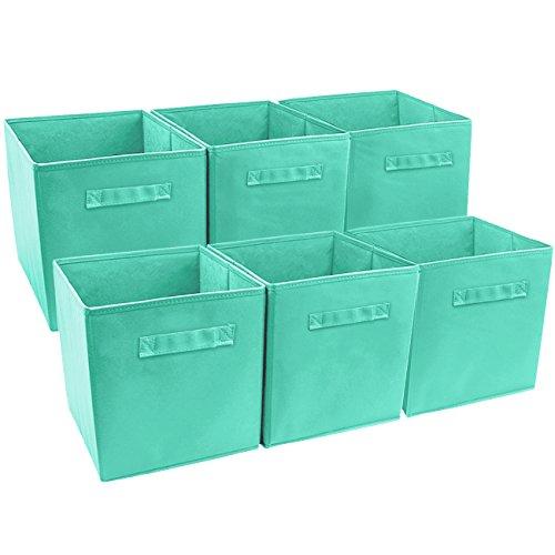Sorbus Foldable Storage Cube Basket Bin 6 Pack Teal
