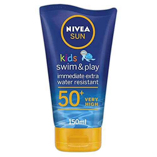 NIVEA SUN Kids Swim & Play Sun Lotion (150 ml) Sunscreen with SPF 50+, Kids Suncream for Delicate...