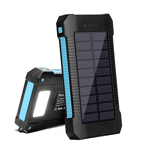 Solar Portable Phone Charger 22000mAh, Solar Power Bank Fast Charging with LED and USB Type C Ports, Solar Cellphone Charger Large Capacity External Battery (Blue)