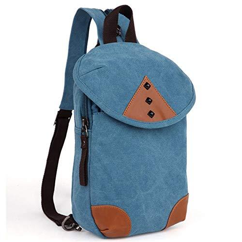 Young shinee Trekking-Daypack, Vintage Männer/Frauen Rucksack Daypack Wasserdichte Reißverschluss Leinwand Dual Zweck Brusttasche Outdoor (Farbe : Blau)
