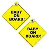 Segnale per bambino a bordo, 2 pezzi, rimovibile per la sicurezza dei bambini, con ventose