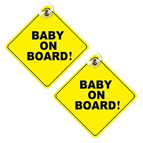 ExeQianming Baby on Board Schild, 2 Stück, abnehmbare Kinder-Sicherheits-Warnung, Baby on Board-Aufkleber, Warnschild für Auto mit Saugnäpfen