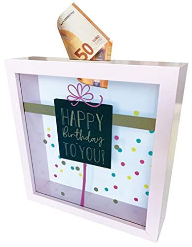 Hucha con marco de fotos y monedero – Marco de fotos decorativo como hucha para rellenar con dinero – Happy Birthday to You – 16 x 16 x 4 cm