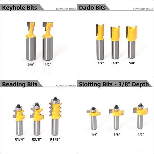 KOWOOD Router Bits Set 1/2 Inch Shank 丨70 - Piece Set