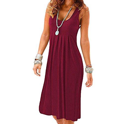 Momoxi Vestito Donna Vestito Elegante, Vestito con Paillettes Abito Scollo V Vestito da immobiliare Manica Lunga XL Vino Reda