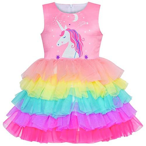 Sunny Fashion Vestido para niña Rosa Unicornio Volante Fruncido Arco Iris Pastel Falda 8 años