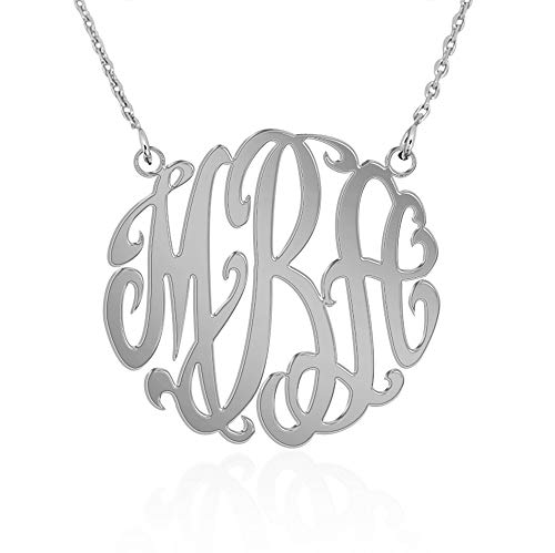 JOELLE JEWELRY Personalized Name Necklace Monogram Initial Sterling Silver-Customized Pendant with Your Initials