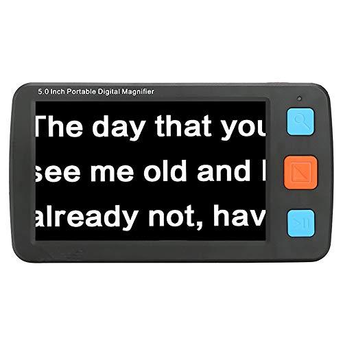 5 inch handheld digitaal videovergrootglas, elektrische leeshulp ondersteuning AV-uitgang naar tv met zaklamp en promotieboek voor ouderen.