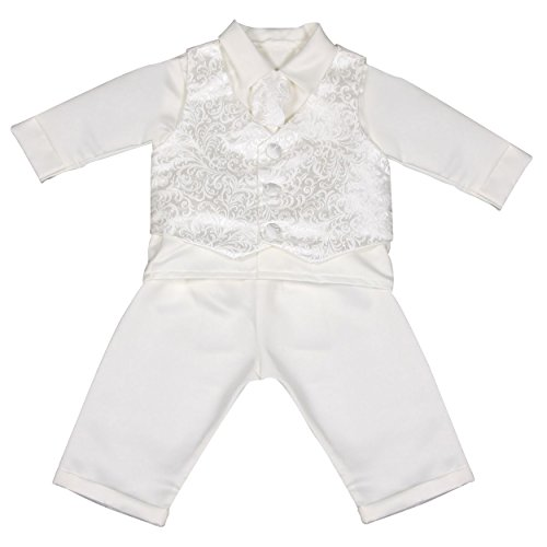 Vivaki - Completino da bebè, per il battesimo, colore: bianco bianco 6 mesi