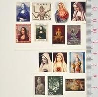 【スクラップ ネイルシール】世界切手《マリア様&仏様》1枚組