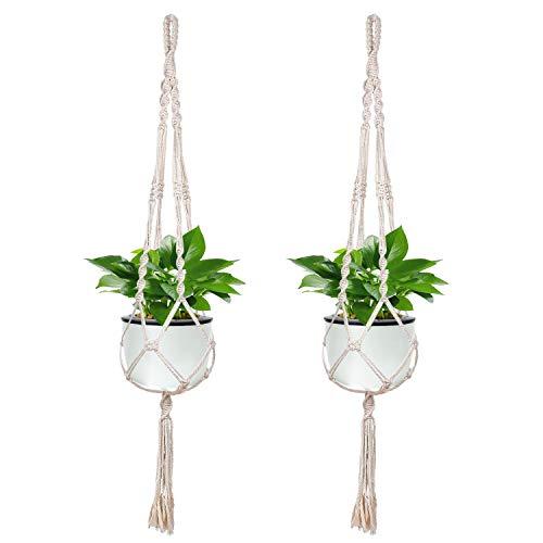 ZJW Lot de 2 Plantes Cintre macramé Pot de Fleurs Pot de Coton Naturel Support pour décoration Intérieur ou extérieur Balcon Plafond (2pcs)