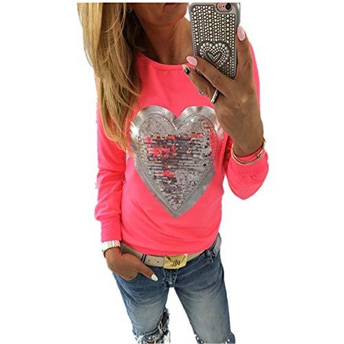 DISCOUNTL Otoño e Invierno Navidad Nuevo 2019 Europa y América Caramelo Color Fluorescente Cuello Redondo Manga Larga en forma de corazón Lentejuelas Mujer Camiseta Tamaño Grande 5XL