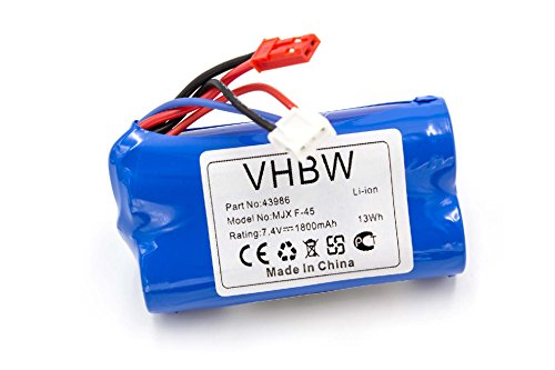 vhbw Li-Ion Akku 1800mAh (7.4V) passend für Modellbau Revell Big One Next 23981, F-645 Hubschrauber, MJX F-45, The Big One 24056