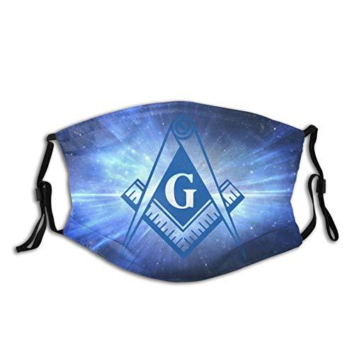 Blue Shine Freemason Masonic Print Washable Dust Proof And Windproof Mask Bandana Balaclava Breathable Reusable with 2 Filter for Adult Women Men & Teenager Outdoor Festival