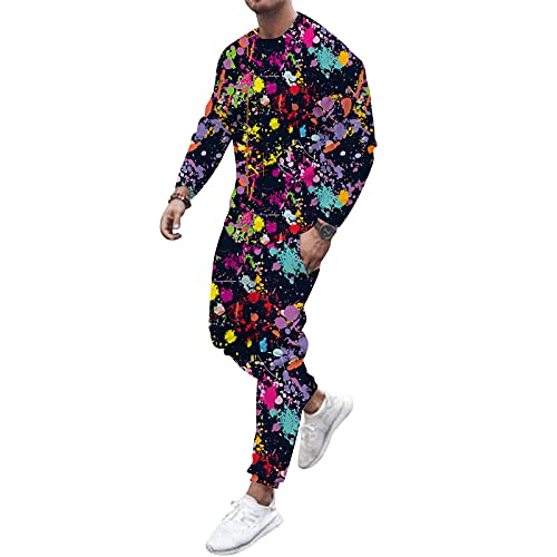 Berimaterry Chandal Completo Hombre de Invierno 2021 Moda con Tie Dye Ropa Deportiva Hombre 2pc Sudaderas Hombres sin Capucha + Pantalones Traje Hombre Señores Funky Conjunto Deportivo Hombre cómodos