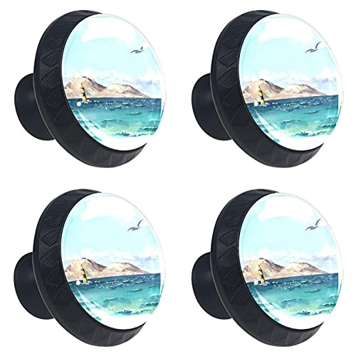 Gabbiano sul Mare Manopole per cassetti in Cristallo di Vetro da 4 Pezzi Maniglie e Maniglie per cassetti Rotonde Hardware per Maniglia per Asilo Nido 3,5 x 2,8 cm