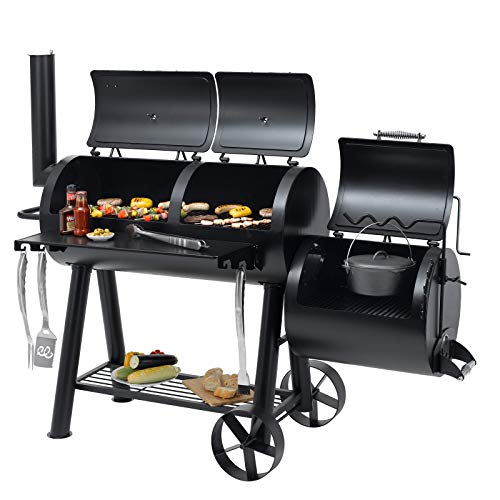 Tepro Indianapolis Massiv Smoker Holzkohle Grill Garten Terrasse BBQ Luftzufuhr regelbar schwarz