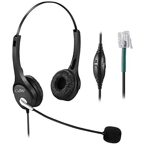 Callez Auriculares Teléfono Fijo RJ9 Dual, Cancelación de Ruido Micrófono, Cascos Manos Libres para Polycom VVX310 VVX411 Mitel 5320 Avaya 1408 ShoreTel IP480 Plantronics Alcatel Aastra NEC (C402A3)