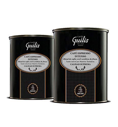 CAFES GUILIS DESDE 1928 AMANTES DEL CAFE Café molido 100% Arábica - Blend Espresso Intenso de Calidad Suprema – Latas 2 Kg