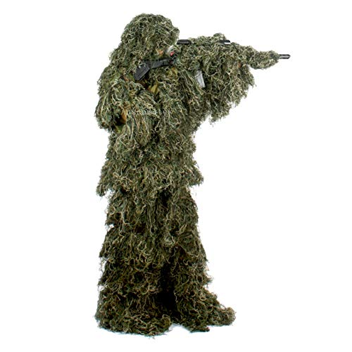 Auscamotek Ghillie Suit for Men Gilly Suits for Hunting Sniper Airsoft Halloween M/L Green