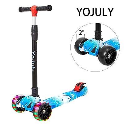 YOJULY 3 WheelsKickScooter- WidePULEDFlashingWheels,AdjustableHeight, for kids2to14Years