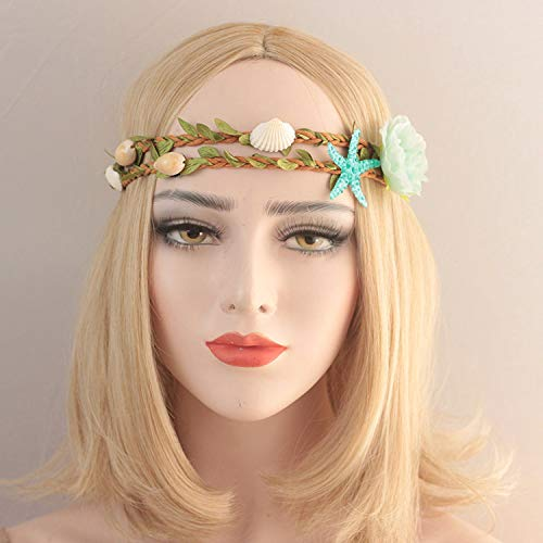 Mermaid Hairband, LKAKA Starfish Shell Wave Headband, Elastic Flowers Hairband, Flower Headpiece (Blue)