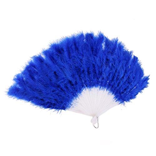 Sharplace - Abanico de plumas para disfraz de mujer burlesques, pluma, ventilador de mano, disfraz de prop, color azul oscuro