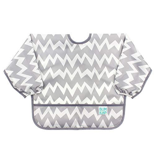 Bumkins Sleeved Bib / Baby Bib / Toddler Bib / Smock, Waterproof, Washable, Stain and Odor Resistant, 6-24 Months - Gray Chevron