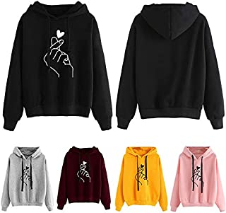 Festnight Casual Hoody,Fashion Women Hoodie Sweatshirts Heart Finger Pattern Long Sleeve Casual Loose Pullover Hooded Tops
