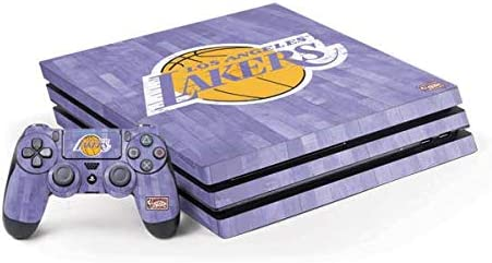 Skinit Decal Gaming Skin Compatible with PS4 Pro Console and Controller Bundle - Officially Licensed NBA Los Angeles Lakers Hardwood Classics Design