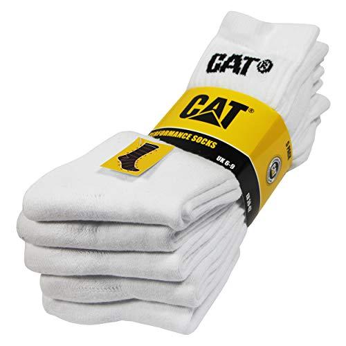 Caterpillar Performance Socks 5 Paar Herrensocken, hochwertiges Baumwollgarn, Frottee-Innensohle und Spann, verstärkte Zehen und Fersen (Weiß, 43-46)