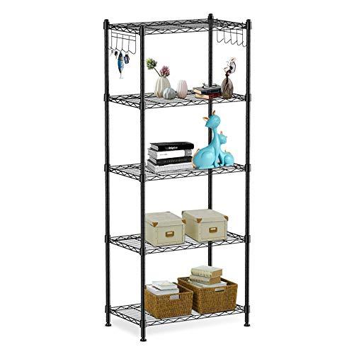alvorog Standregal Lagerregal 5 Ebenen Haushaltsregal Küchenregal Regalböden stabil verstellbar Metallregal Aufbewahrung für küche 59x34x150cm