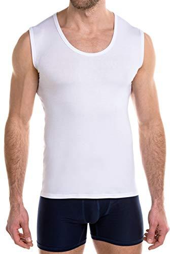 FINN Business Herren Unterhemd Ärmellos mit Rundhals-Ausschnitt Micro-Faser Tank-Top Männer Weiß Weiss S