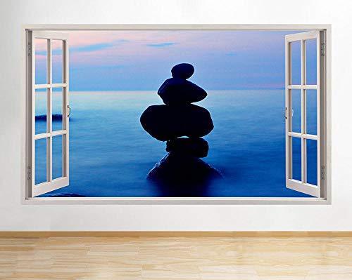 Pegatinas de pared Pegatinas de pared, piedras, guijarros, mar, puesta de sol, pasillo, ventana, calcomanía, arte 3D, habitación de vinilo Póster Arte 3D Mural 50x70cm