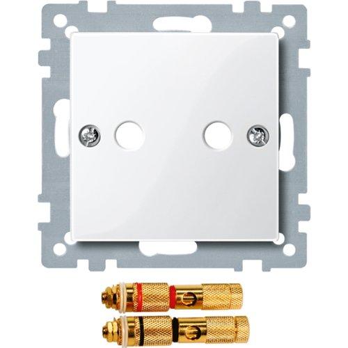 Merten 468819 Zentralplatte mit High-End Lautsprecher-Steckv, polarweiß glänzend, System M