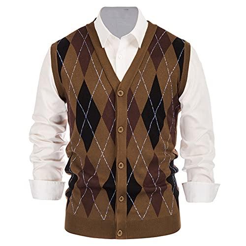 Chaleco vintage abrigo hombres suéter sin mangas chaleco contraste color diamante patrón