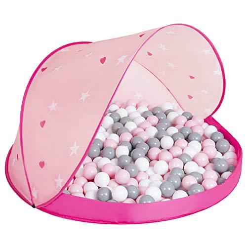 SELONIS Baby Spielzelt Mit Plastikbällen Zelt 115X115x75cm/100 Bälle Plastikkugel Kinder, Pink Schale:Weiß-Grau-Puderrosa