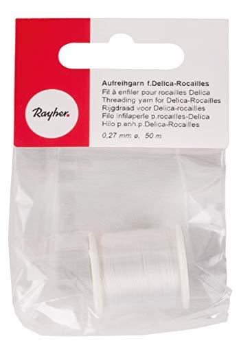 Rayher 89300100 Hilo de Nylon 100% especial para abalorios rocallas y pequeñas cuentas, blanco, diametro 0.27 mm, largo 50 m, Muy fino y resistente