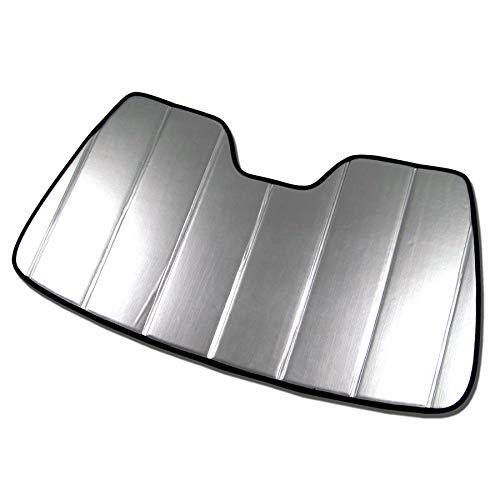 TuningPros SS-336-L Custom Fit Car Windshield Sun Shade Protector, Sunshade Visor Leatherette Like & Grey Felt Finish 1-pc Set Compatible With 2016-2020 Toyota Tacoma N300