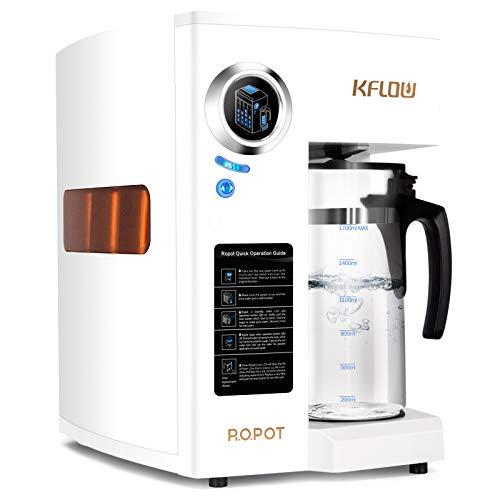 KFLOW Umkehrosmoseanlage, Auftisch Osmoseanlage Wasserfilter Null-Installations Umkehrosmose Trinkwasserfilter mit Präziser 4-stufiger Filtration und Filterlebensdauerüberwachung (KFL-ROPOT-175)