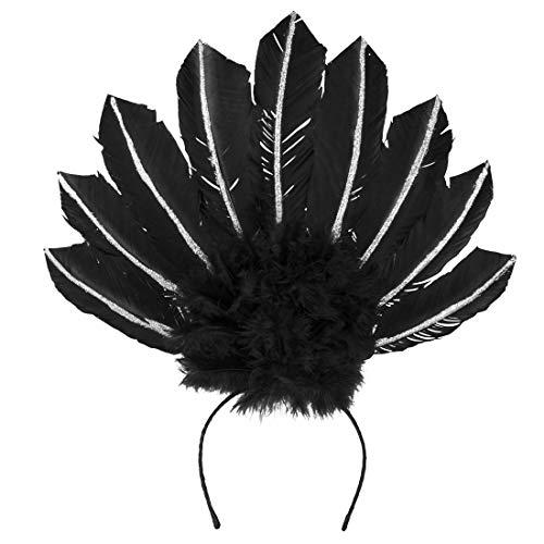 Amakando Elegante Adorno con Plumas para la Cabeza Bailarina de zamba / Negro/Banda Burlesque para el Cabello / El Centro de Las miradas para carnavales al Aire Libre y Fiestas temáticas