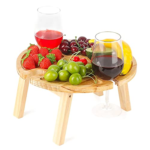 Mesa de vino portátil, 11,8 x 6,3 pulgadas, mesa de picnic plegable de madera con soporte para copas de vino, mesa de vino al aire libre, mesa de aperitivos, mesa de picnic portátil al aire libre