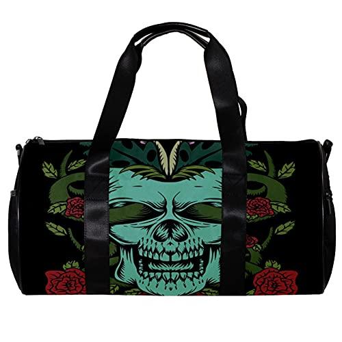 Bolsa de deporte redonda con correa de hombro desmontable, diseño de calavera con rosas decoración de entrenamiento bolso de noche para mujeres y hombres