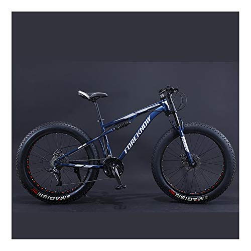 YCHBOS 26' Bicicletas de Montaña para Adultos Fat Tire, 27 Velocidad Full Suspension Mountain Bikes Mens Fat Bike, Doble Freno de Disco, Marco de Acero de Alto CarbonoA