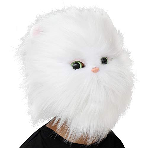 Deluxe Novelty Halloween Costume Party Latex Animal Cat Head Mask Black (white)