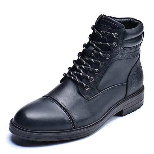 Botas De Tobillo para Hombre Botas De Cuero Genuino con Punta De Casquillo Y Comodidad Informal con Cremallera,Negro,40 EU