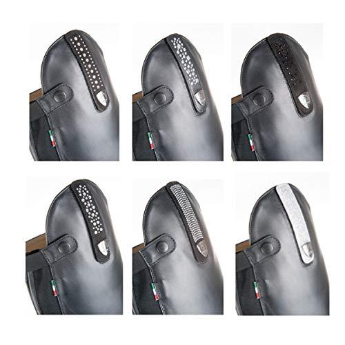 TATTINI Riemchen für Reitstiefel Lurex Silber (dunkel)